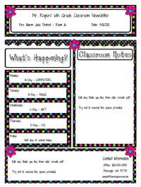 custom classroom newsletter printable sample home