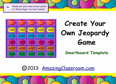 Jeopardy game template smart board smart notebook lesson for Kids jeopardy template