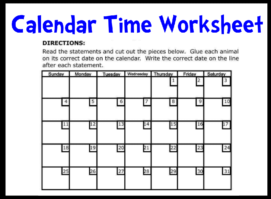 Calendar Activities Printables : Calendar time printable worksheet with answer key lesson