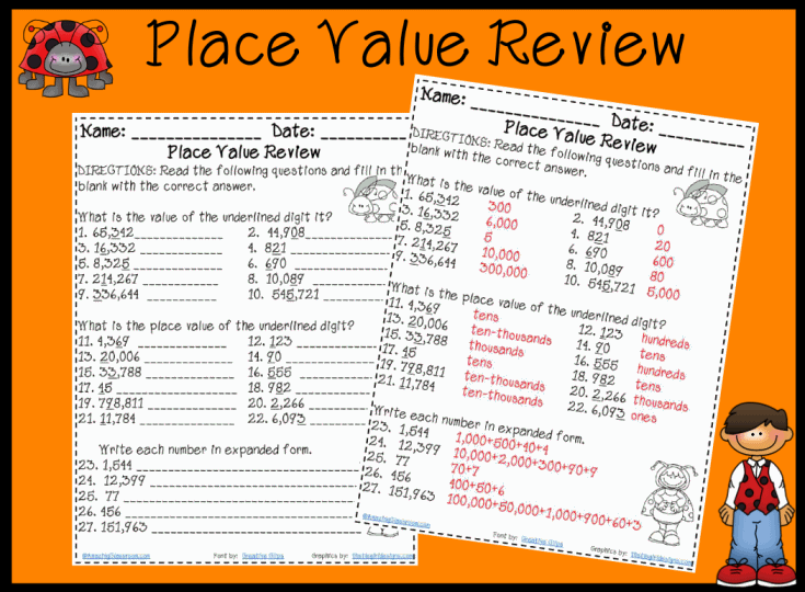 Place Value Review Worksheet Printable Worksheet with Answer Key – 3rd Grade Math Place Value Worksheets