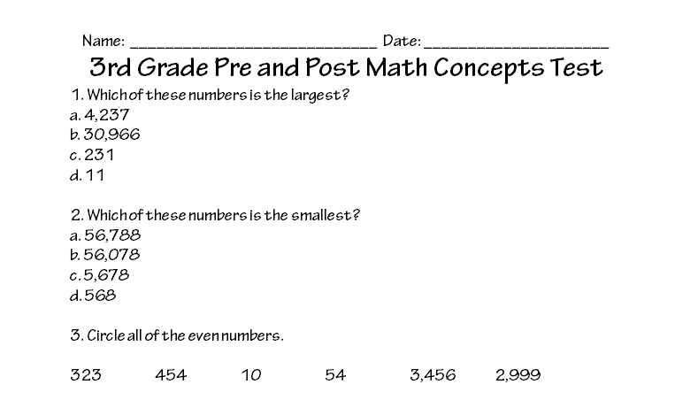 3rd Grade Math Concepts Test Printable Worksheet With Answer Key