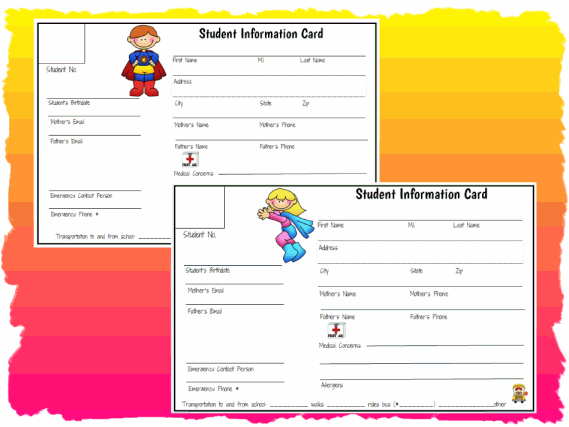 Student Information Cards Printable Worksheet with Answer Key ...