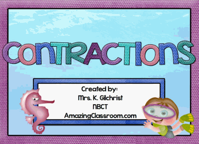 Contractions Lesson for Smartboard