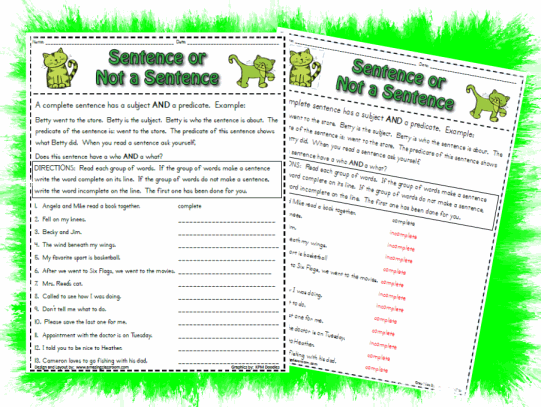 Complete Or Incomplete Sentence Printable Worksheet With Answer Key