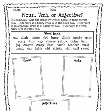 Noun Verb Or Adjective Worksheet Printable Worksheet With Answer