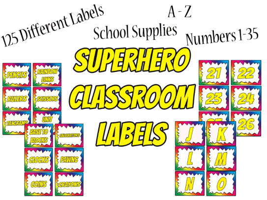 Superhero Classroom Decor Printables ~ Printable worksheets activity pages for teachers with