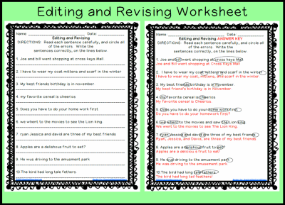 Editing worksheets for class 7