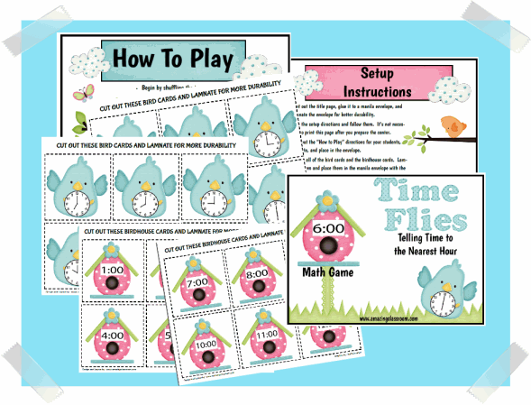 Time Flies Math Game (nearest hour) Printable Worksheet with Answer ...