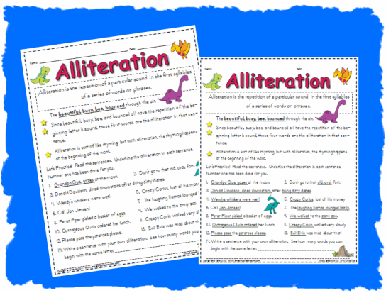 Alliteration Worksheet Printable Worksheet With Answer Key Lesson