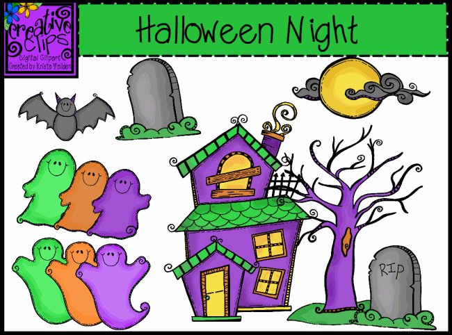 Spooky Halloween Night Clip Art Set