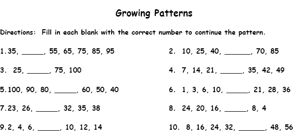 Patterns Printable Worksheet with Answer Key - Lesson Activity ...
