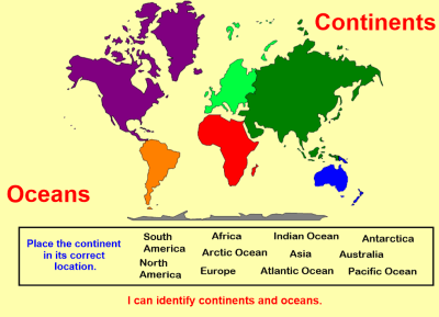 Identifying Continents & Oceans