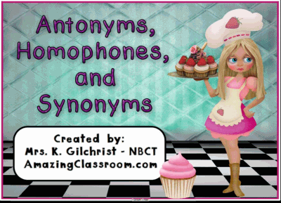 Antonyms Homophones Synonyms Lesson