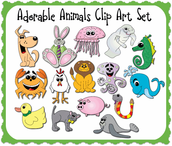 Adorable Animals Clip Art Set