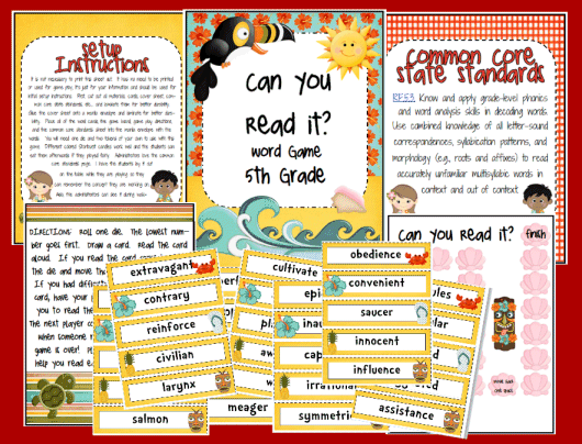 5th grade printable reading games