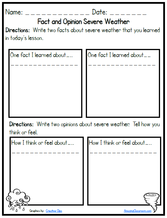 Severe Weather Fact and Opinion Printable Worksheet with Answer – Fact or Opinion Worksheet