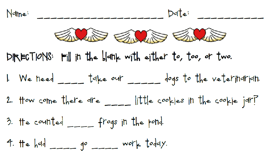 Homophones - To, Too, and Two Printable Worksheet with Answer Key ...