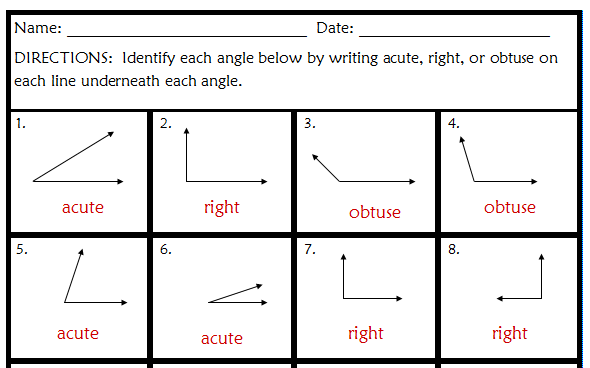 Worksheets Acute Obtuse And Right Angles Worksheets boosterpubr 5th grade math angles worksheets worksheets