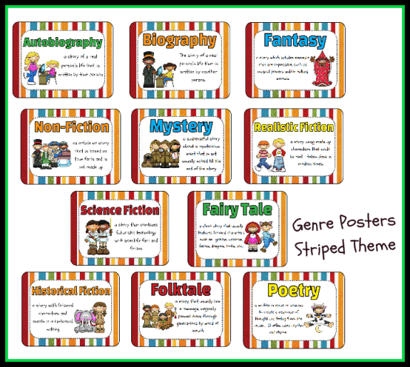 Genre Poster Set Striped Theme Printable Worksheet with Answer – Genre Worksheet