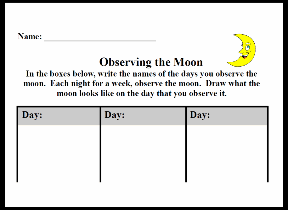 Observing the Moon (Moon Journal) Printable Worksheet with Answer Key ...