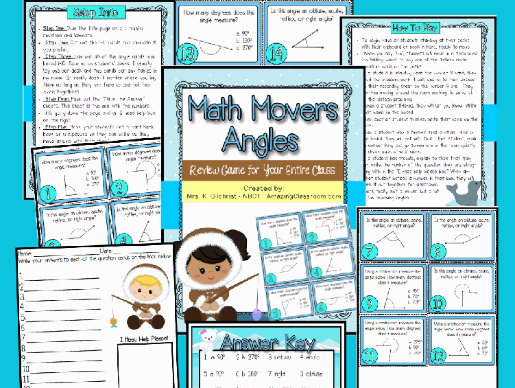 Math Movers All About Angles Printable Worksheet with Answer Key ...