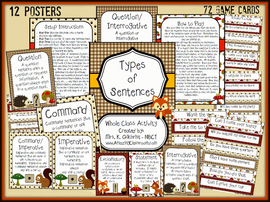Types of Sentences Review Game Printable Worksheet with Answer Key – Types of Sentences Worksheet