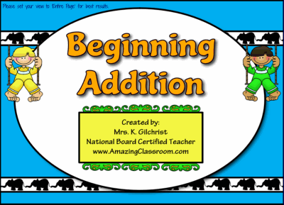 Beginning Addition for Smartboard
