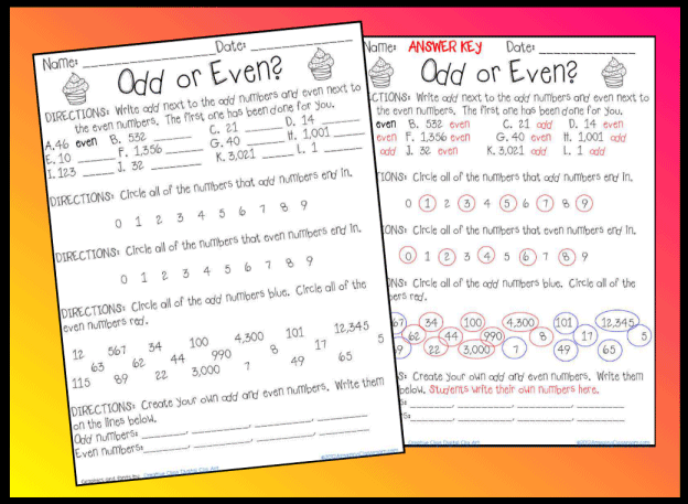 Odd or Even Worksheet