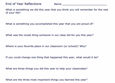 End of School Year Reflections
