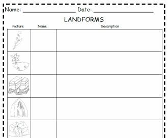 Worksheet Landforms Worksheets worksheets on landforms for 3rd grade delwfg com landform printable for