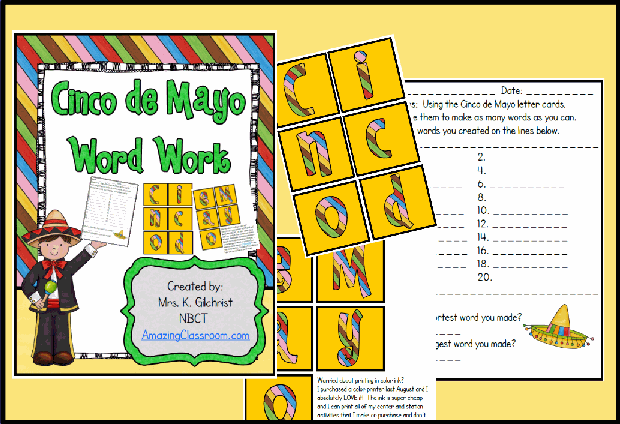 Cinco de Mayo Word Work Center