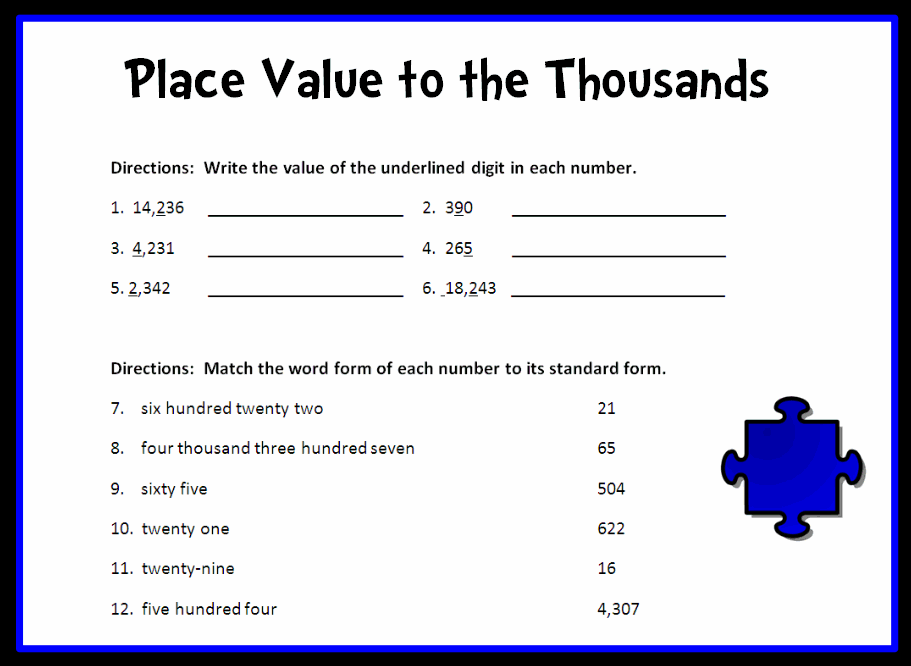 place value to the thousands place printable worksheet with answer key lesson activity. Black Bedroom Furniture Sets. Home Design Ideas