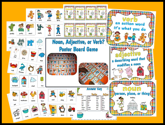 Noun, Verb, & Adjective Poster Game