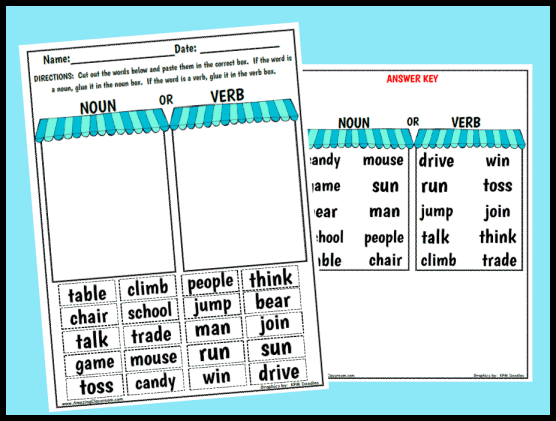 Noun or Verb Sorting Worksheet Printable Worksheet with Answer Key – Nouns Verbs and Adjectives Worksheets