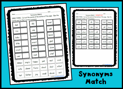 Synonyms Match Activity Page