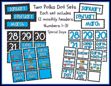 Polka Dot Themed Calendar Sets Printable Worksheet with Answer Key ...