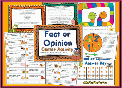 Fact or Opinion Center Station Game Printable Worksheet with ...