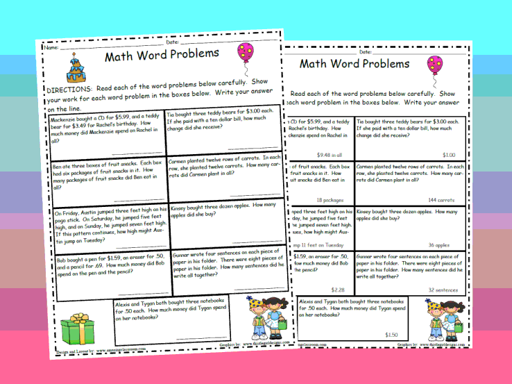 Maths Word Problems Worksheets. Standards Met Real World Based ...