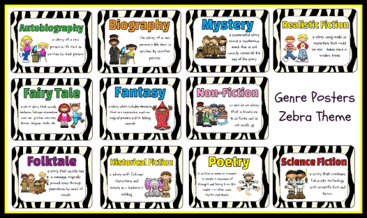 Genres Poster Set Zebra Theme Printable Worksheet with Answer – Genre Worksheet